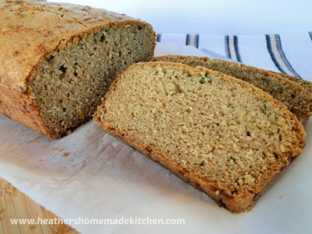 Side view of a slice of Classic Zucchini Bread