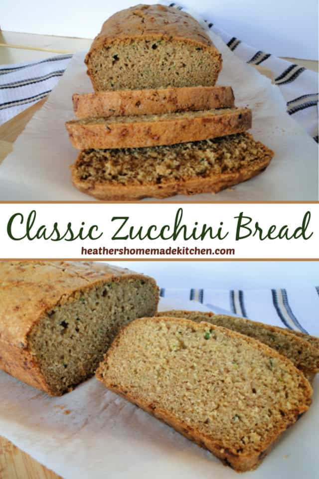 Classic Zucchini Bread with slices front view and side close up view.
