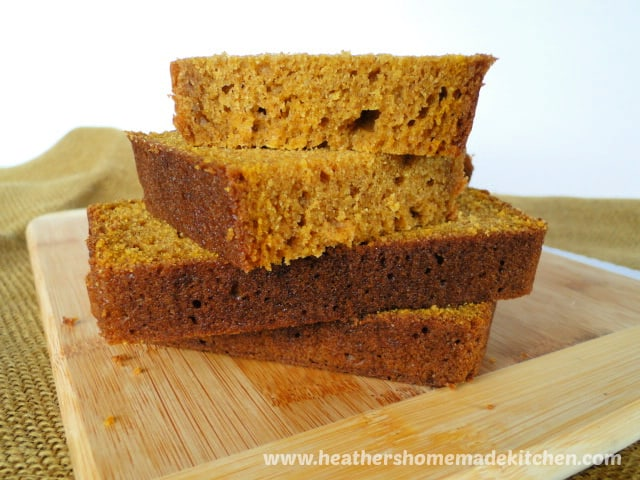 Sliced and stacked Easy Pumpkin Bread Recipe