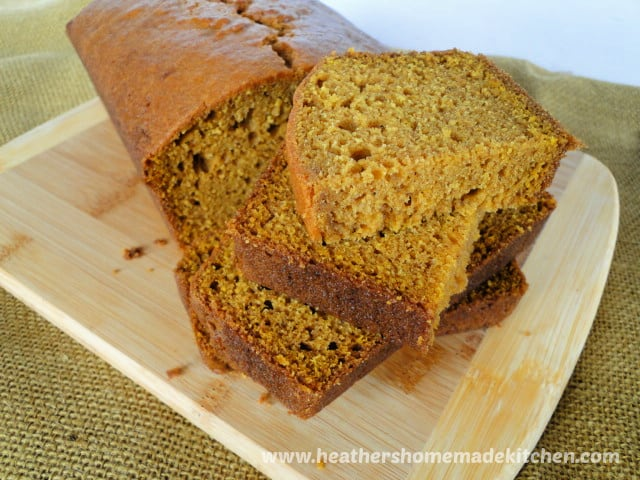 Easy Pumpkin Bread Recipe with slices stacked.