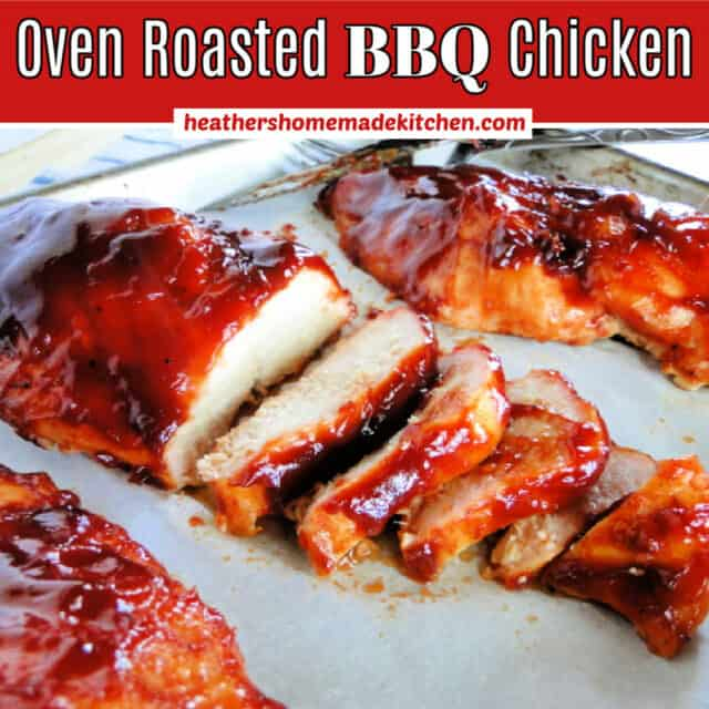 Oven Roasted BBQ Chicken Breasts sliced on sheet pan.