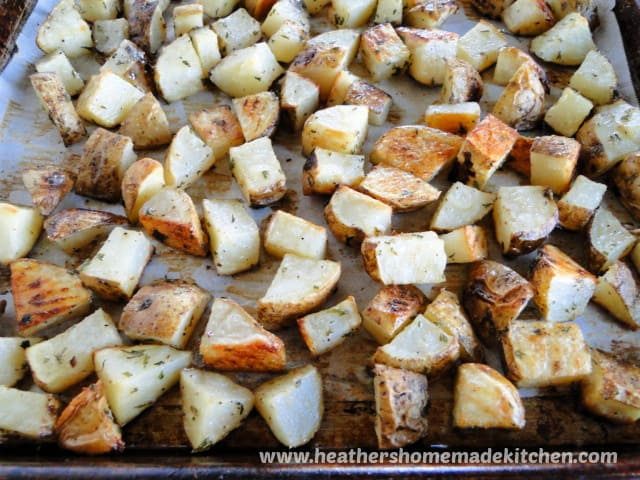 Top View of Oven Roasted Potatoes on baking sheet.