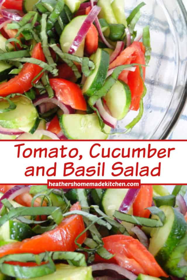 Tomato, Cucumber and Basil Salad in glass bowl and close up view.