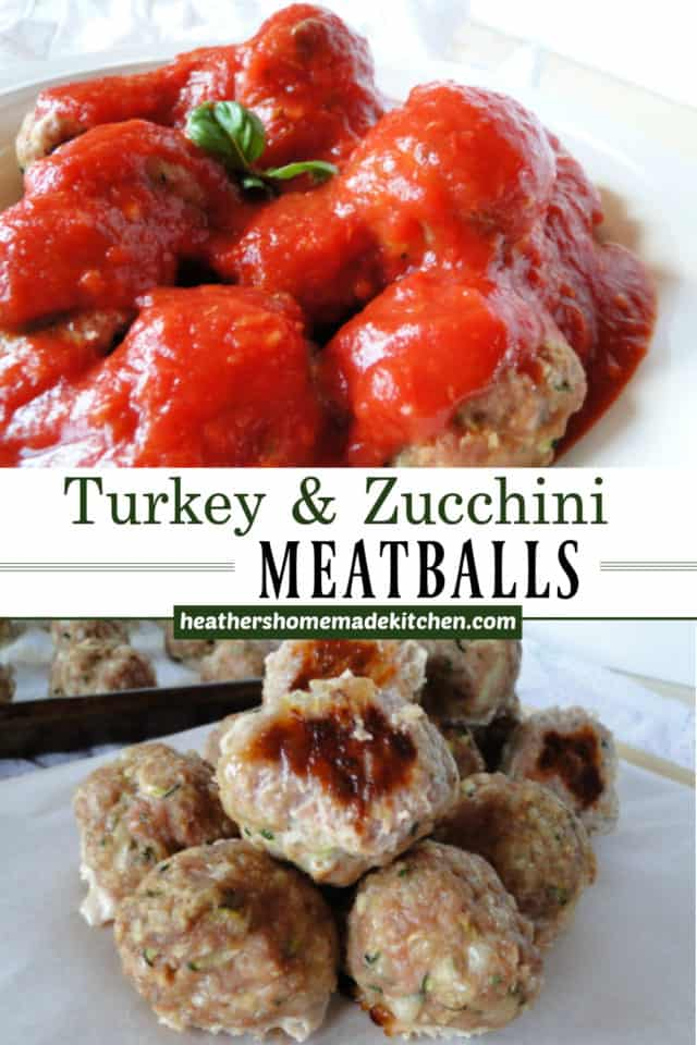 Turkey & Zucchini Meatballs in a pile on sheet pan and topped with marinara sauce in white bowl