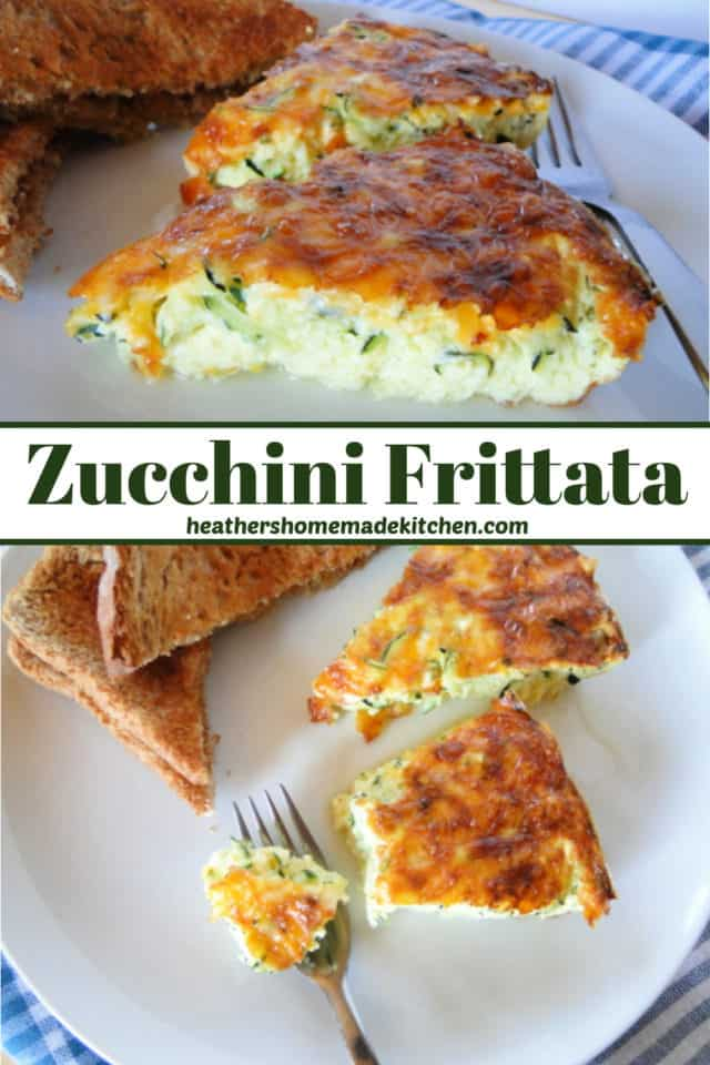 Side view of slice of Zucchini Frittata and top view of 2 slices with bite on fork.
