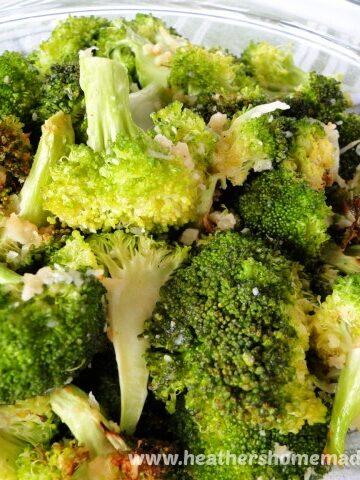 Bowl of Air Fryer Garlic Parmesan Broccoli