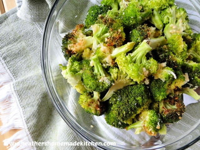 Top view of Air Fryer Garlic Parmesan Broccoli in glass bowl