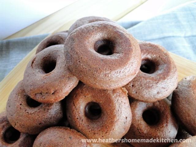 Chocolate Mini Donuts in a pile.
