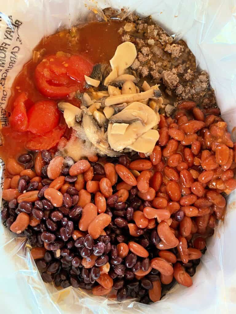 All ingredients for easy 3 bean chili in crock pot.