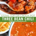 Easy three bean chili in soup and close up view of chili on spoon.
