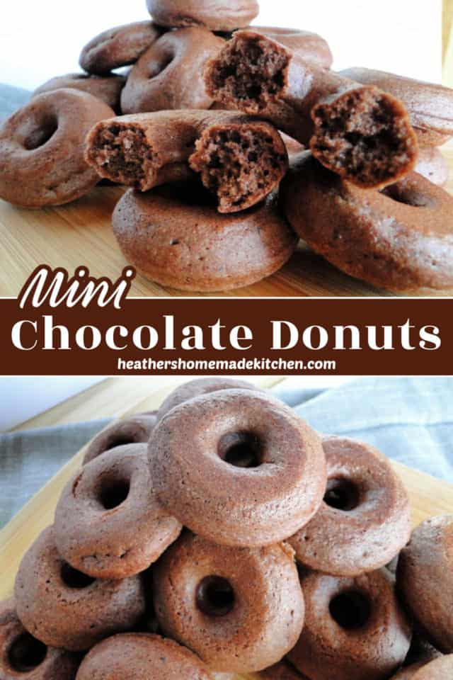 Chocolate Mini Donuts in pile and close up view of one broken in half.