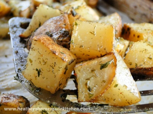 Close up view of Roasted Ranch Potatoes
