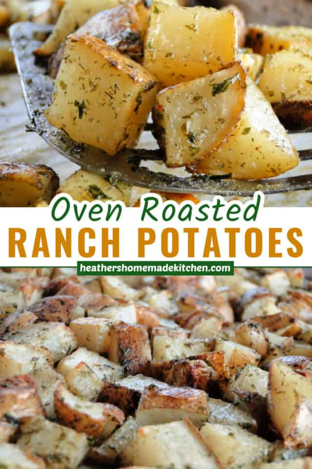 Roasted Ranch Potatoes on sheet pan and close up view on metal spatula