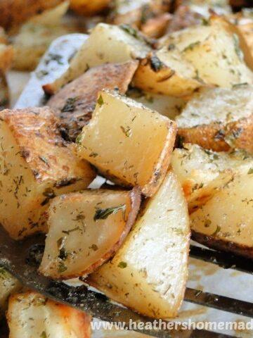 Roasted Ranch Potatoes on metal spatula
