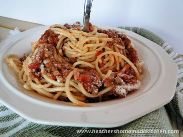 Simple Spaghetti Meat Sauce over spaghetti pasta in white bowl with fork in middle.