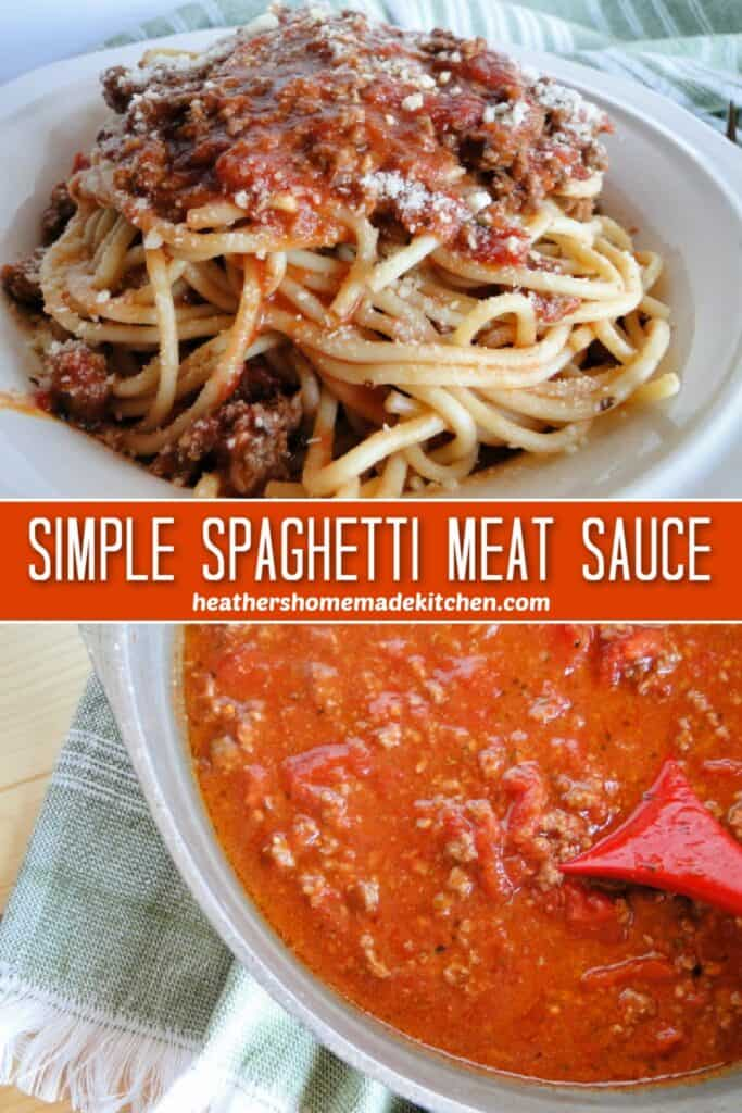 Simple Spaghetti Sauce on large pot and over spaghetti pasta in bowl.