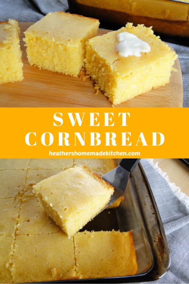Sweet Cornbread in glass baking dish on spatula and 3 slices on board.