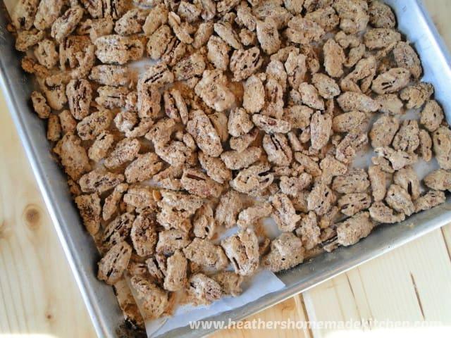 Sheet pan of Crispy Candied Pecans