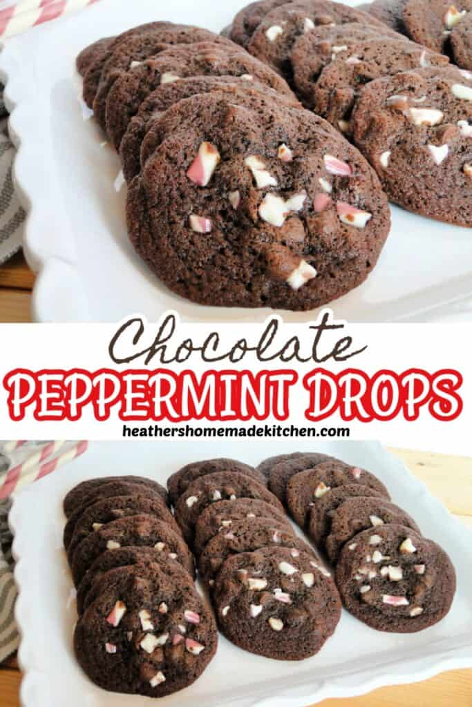 Chocolate Peppermint Drop Cookies in rows on square platter and close up view.