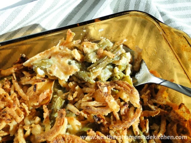 Close up view of spoonful of Homemade Green Bean Casserole