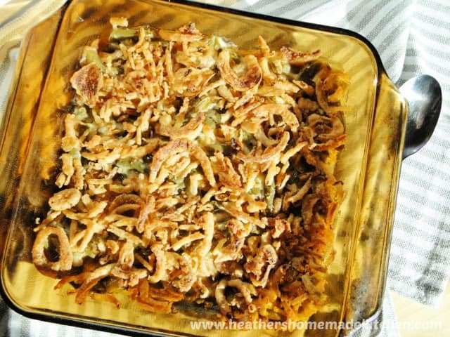 Top View of Homemade Green Bean Casserole in glass dish.