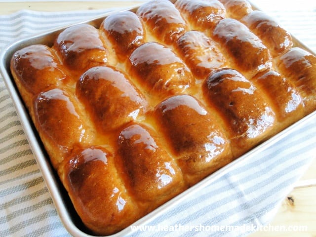 Top view of No Knead Dinner Rolls
