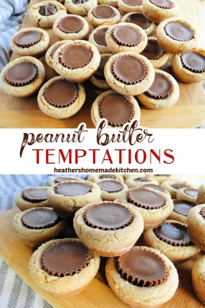 Top and close up views of Peanut Butter Temptation Cookies stacked on board.