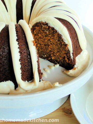 Pumpkin Pie Bundt Cake with slice taken out.