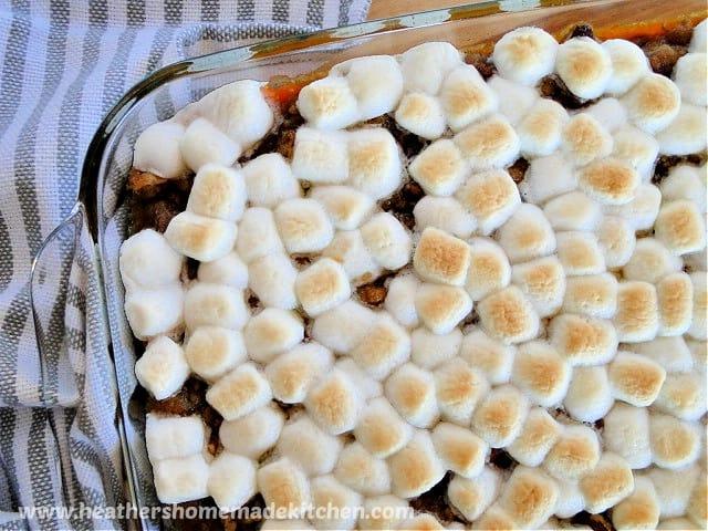 Top view of Sweet Potato Casserole in baking dish.