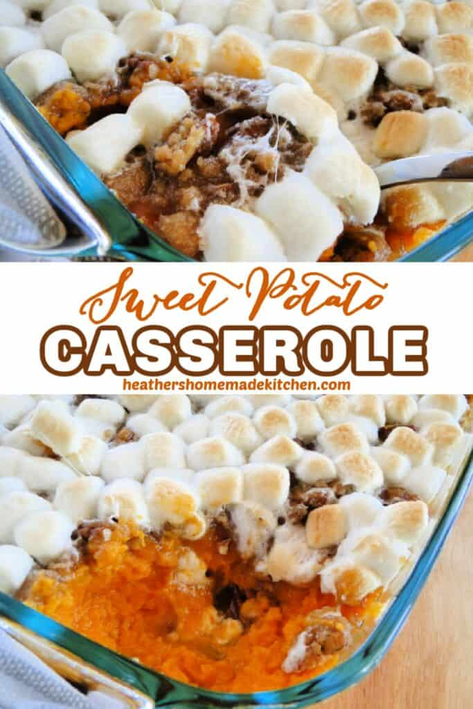 Sweet Potato Casserole in baking dish with spoonful and corner scooped out.