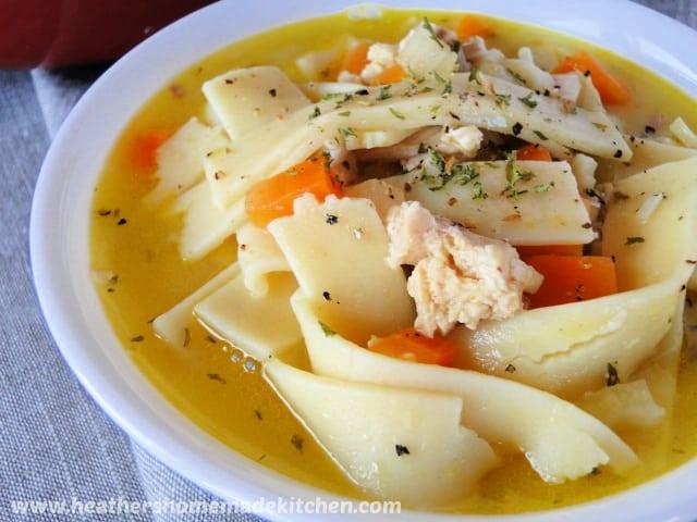 Turkey Noodle Soup in white bowl.