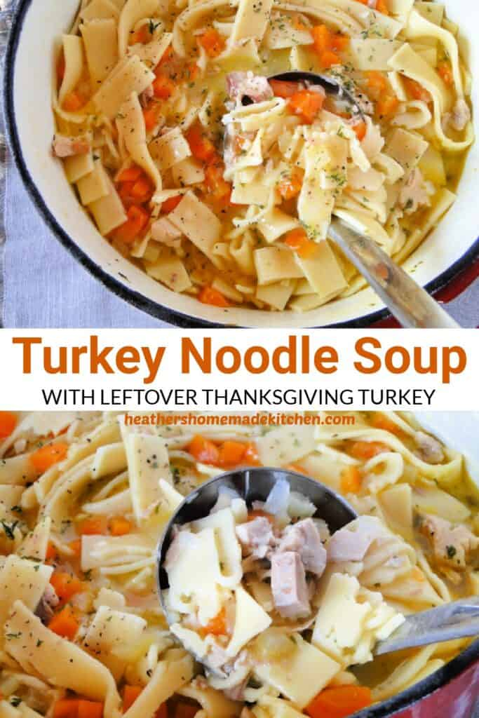 Turkey Noodle Soup in dutch oven and close up of ladleful.