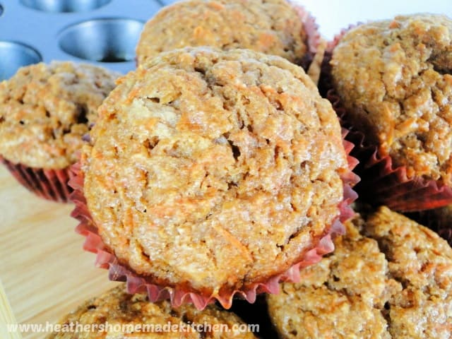 Close up view of Applesauce Carrot Breakfast Muffins tops.