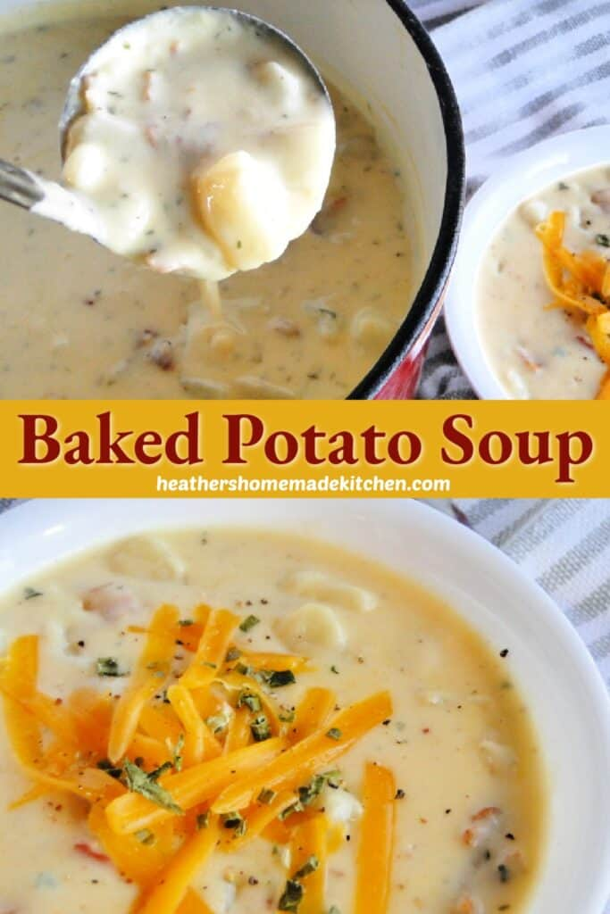 Baked Potato Soup in white bowl with shredded cheese on top and ladleful in soup pot.