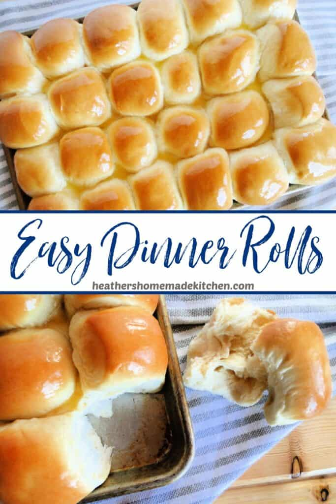 Top view of Easy Dinner Rolls and on roll cut in half.