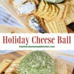Holiday Cheese Ball in middle crackers and some spread on crackers with cheese spreader.