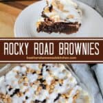 Rocky Road Brownies in baking dish and slice on plate.
