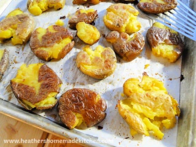 Smashed Potatoes on sheet pan