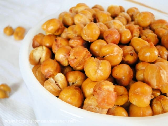 Close up view of Air Fryer Chickpeas in white bowl.