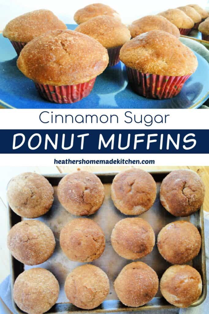 cinnamon sugar donut muffins on round blue plate and in rows on sheet pan.