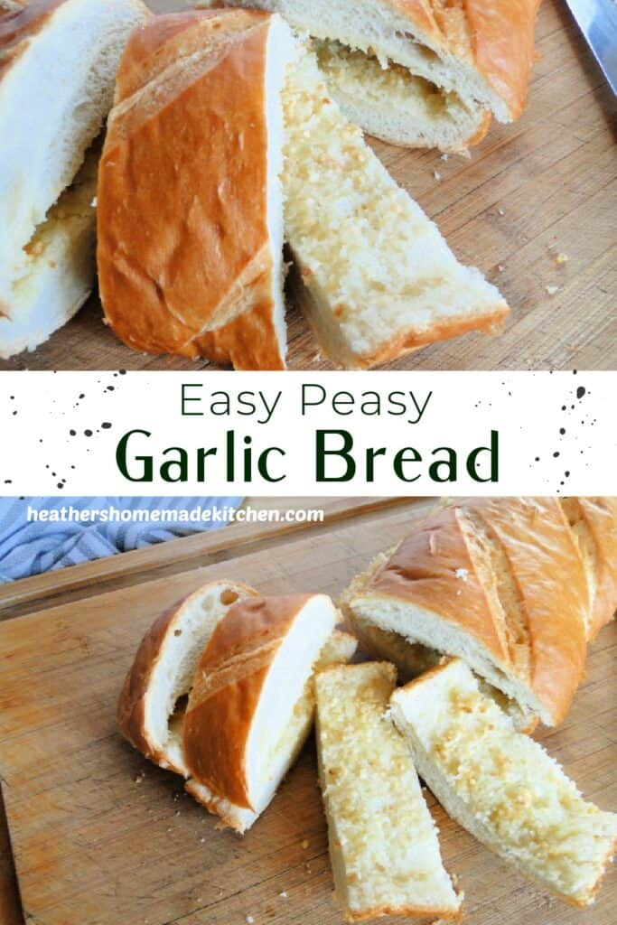 Easy Peasy Garlic Bread sliced on board and open faced to show inside of bread.