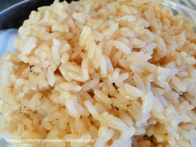 Close up view on instant pot brown rice.