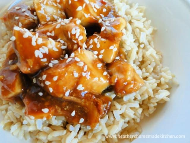 close up view of instant pot honey garlic chicken.