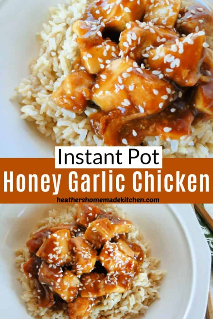 Close up of instant pot honey garlic chicken and served over a bowl of rice.