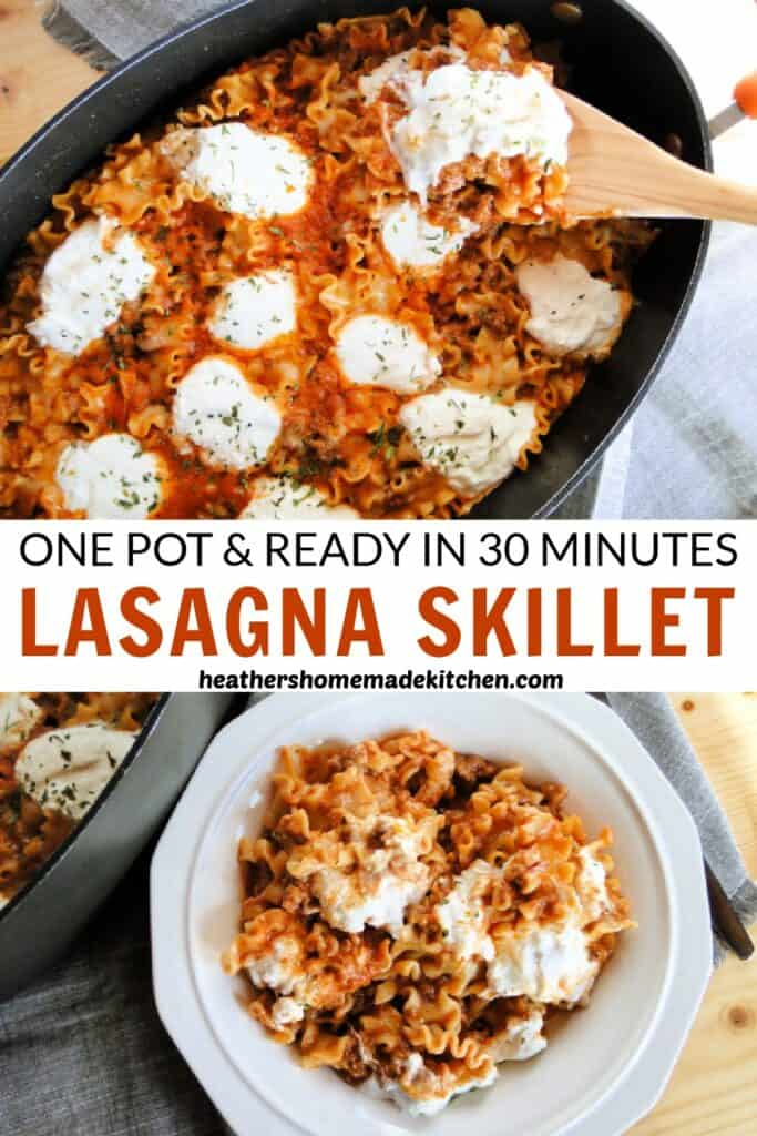 Top view of skillet lasagna in pan with dollops of ricotta cheese and in a white bowl.