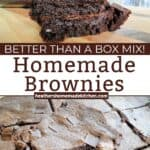 Homemade Classic Brownies sliced and stacked 3 high and sliced in baking dish with chocolate chunks on top.