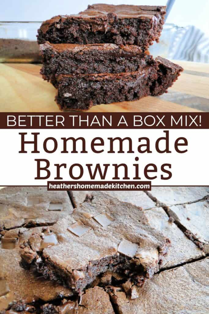 Classic Homemade Brownies sliced and stacked 3 high and sliced in baking dish with chocolate chunks on top.