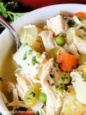 Bowlful of Chicken and potato stew with spoon in white bowl.