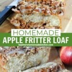 Slices of apple fritter loaf on board showing tender inside with apples and drizzle of glaze.
