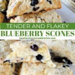 Blueberry scones with golden edges on sheet pan.